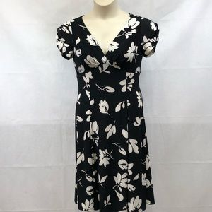 Chaps black white floral dress